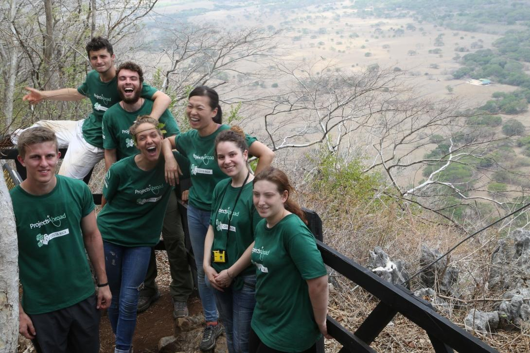 Childcare and Conservation volunteers explore the mountains in Costa Rica during their free time.